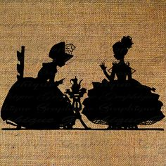 Tea Party Pretty Little Girls Silhouette by Graphique