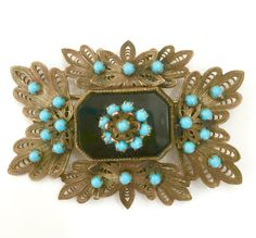 Cannetille Brooch, Black Turquoise Glass 1920s