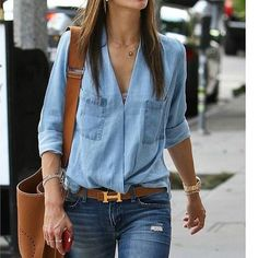 Alexandra Ambrosio wears double denim with ease! The collarless shirt is awesome. How to Wear the Double Denim Trend Mode Outfits, Casual Outfits, Fashion Outfits, Womens Fashion, Fashion Trends, Mode Chic, Mode Style, Hermes Belt Outfit, Hermes Belt Women