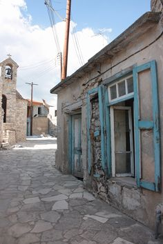 village street in Lefkara, Cyprus