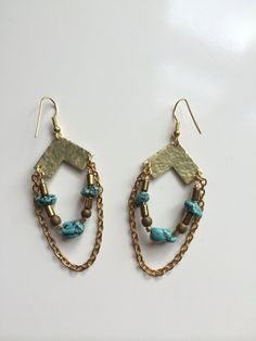 TURQUOISE CHEVRON EARRINGS by MadMadeMetals on Etsy
