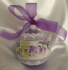 Hand Painted Christmas Ornament Cottage Chic Purple Roses Shabby Lace HP Glass
