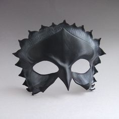 Jackdaw Sculpted Leather Mask - Corvus Raven Or Crow In Black And Pewter - Halloween Masquerade Costume