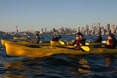 Kayaktivists in Puget Sound during a training session for a planned floating protest of a proposal by Royal Dutch Shell to lease a terminal in the Port of Seattle for its Arctic drilling fleet, in Seattle, May 7, 2015. Groups organizing a ShellNo Flotilla for Saturday May 16, 2015 hope to attract 1,000 kayaks or other small boats. (Photo: David Ryder/The New York Times)