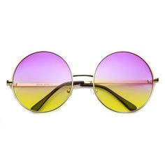 dc8112ab611 Womens Large Oversized Color Tinted Metal Circle Round Sunglasses