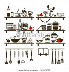 Vector food and drinks icons set, drawn up as kitchen shelves - stock vector