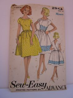 Sew Easy Advance 2944 UNCUT 1960s Sewing Pattern Girls Size 12 Wrap Back Dress. $12.50, via Etsy.