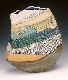 Deep River, a mixed glaze and incised vessel/vase by Nelfa Tompkins