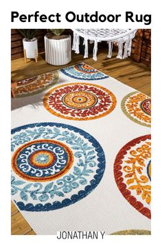 Inspired by antique Suzani patterns, this indoor-outdoor rug will cheer up a kitchen, living room, bedroom or dining room. The multicolored design is an easy maintenance solution for homes with kids and pets. Outdoors, this rug adds a splash of color and Moroccan style to your patio or porch.Item Specification Red And Blue, Coral Blue, Blue Green, Yellow, Indoor Outdoor Area Rugs, Moroccan Style, Rug Material, Home Decor Trends, Color Splash