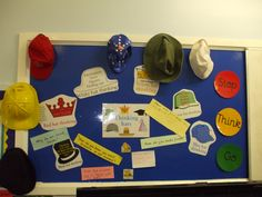 De Bono's Thinking Hats- like this bulletin board- how cool...thinking caps for our thinking maps!!!