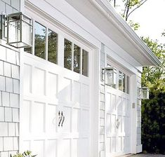 Add character to your home with these examples of gorgeous garage doors. Add character to your home with these examples of gorgeous garage doors. Garage Door Lights, White Garage Doors, Wooden Garage Doors, Garage Lighting, Garage Door Opener, Carriage Garage Doors, Outside Garage Lights, Diy Garage Door, Best Garage Doors