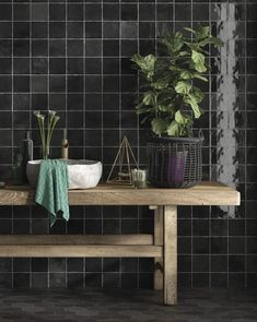 Who else loves a dark and moody bathroom? 🙋 The Souk collection in black is used to add drama to this striking design and we're in love 😍 Black Wall Tiles, Wall And Floor Tiles, Black Walls, Bathroom Gallery, Bathroom Wall, Decorative Wall Tiles, Metro Tiles, Black Decor, Porcelain Ceramics