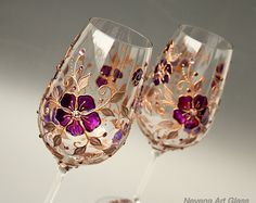 Wine Glasses, Hand Painted Wine Glasses, Rose and Copper Glasses, Wedding Glasses, Set of 2 Charming and romantic floral pattern in pink and copper. Rich decoration with Swarovski Crystals - shades in rose and volcano. Copper colored crystals. Perfect wedding or anniversary gift, great for a wedding toast, unique Christmas gift or new home gift. One of a kind hand painted glasses, Authors design. Ready to ship! Height 24.5 cm / 12 in Gift Box packaging. To Personalized these glasses: I...