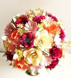 Traditional Paper Flower Bouquet by JumpingJones on Etsy, $95.00