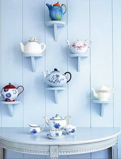 Shelves for my tea pots Tea Cup Display, Teapots And Cups, Displaying Collections, My Cup Of Tea, Tea Time, Tea Party, Tea Cups, Coffee Cups, Home Decor