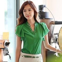 女性のカーディガンV真珠の襟のファッションエレガントなOL Tシャツ - JPY ¥ 2,219