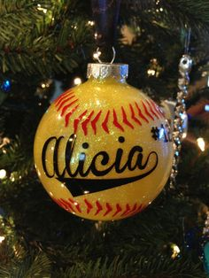Baseball Christmas ornament - vinyl, could use oil based sharpies as well! Baseball Christmas Ornaments, Vinyl Ornaments, Christmas Vinyl, Diy Christmas Ornaments, Homemade Christmas, Christmas Holidays, Christmas Bulbs, Christmas Decorations, Decorating Ornaments