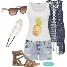 A fashion look from April 2015 featuring stripe shirt, womens plus size vests and cotton shorts. Browse and shop related looks. Short Outfits, Girl Outfits, Summer Outfits, Cute Outfits, Girl Fashion, Fashion Looks, Clothing Items, Festival Fashion, Spring Summer Fashion