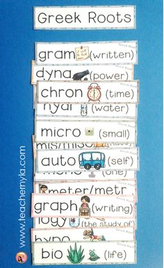 Nyla's Crafty Teaching: Greek Roots - Illustrated Definitions and Examples Vocabulary Instruction, Science Vocabulary, Science Words, Vocabulary Strategies, Reading Strategies, Word Study, Word Work, Greek Language, Language Arts