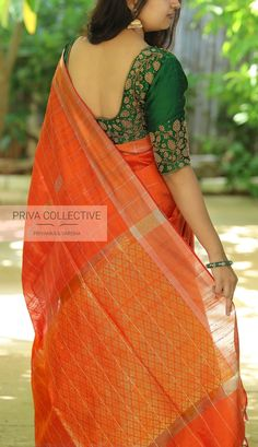 Uppada saree with handwork designer blouse whatsapp 9047090885 tanvika sarees Wedding Saree Blouse Designs, Pattu Saree Blouse Designs, Half Saree Designs, Blouse Designs Silk, Designer Blouse Patterns, Latest Blouse Designs, Salwar Neck Designs, Blouse Back Neck Designs, Saris