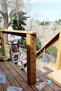 The full guide for how to install DIY cable rail in just one weekend. The easy… The full guide for how to install DIY cable rail in just one weekend. The easy way to give your old deck a modern look on a budget! Cable Railing, Deck Railings, Deck Railing Design, Deck Railing Ideas On A Budget, Handrails Outdoor, Small Deck Ideas On A Budget, Horizontal Deck Railing, Decking Ideas, Backyard Patio