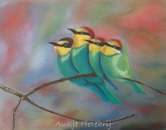 Bee-eaters. With soft pastelchalk