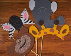 8 selva safari zoo animales tema orejas diadema por Partyears