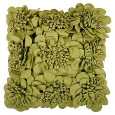Wool pillow in avocado with a textured rosette design. Made in India.   Product: PillowConstruction Material: 70...