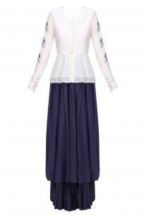 White and Blue Birds Embroidered Peplum Top and Skirt Set #aekatribycharuvij #newdesigner #shopnow #ppus #happyshopping