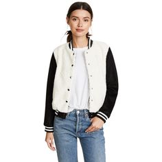 BB Dakota Karah Varsity Jacket ($86) ❤ liked on Polyvore featuring outerwear, jackets, ivory, white bomber jackets, varsity bomber jacket, striped bomber jacket, letterman jackets and varsity jackets