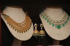 Gold Multi Layer Mala and Emerald and Pearl Set by Amrapali, Jaipur  Ph: +919900033636. http://www.facebook.com/SakhiFashions