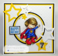 Designed by Lisa West using My Super Boy from Tiddly Inks. Coloured using Spectrum Noir – Original Markers unless mentioned otherwise: Skin: Illustrators TN8, EB1, FS7, FS8 & FS9, PP2, PP1 Hair: GB10, GB9, GB8, GB2 Red: IG9, DR7, CR11, CR9, CR9, CR7 Blue: IG9, TB7, TB6, TB5, TB3 Yellow: GB9, GB6, GB3, GB1 #spectrumnoir #handmadecard #tiddlyinks