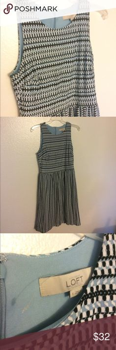 LOFT Striped Dress PRICE DROP❤❤ Light blue, black and white patterned dress from loft. Only worn 2 times and in like new condition. Fully lined and has an a-line fit. On the torso the stripes are horizontal and below the waist, the stripes are vertical for a very flattering fit. LOFT Dresses