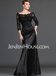 Three Quarter Sleeved Off the Shoulder Lace Bodice Satin Mother of the Bride Dress. -And it comes in red! Perfect mother of the bride dress. Mob Dresses, Sexy Dresses, Fashion Dresses, Bridesmaid Dresses, Formal Dresses, Bride Dresses, Formal Wear, Dresses Online, Wedding Dresses