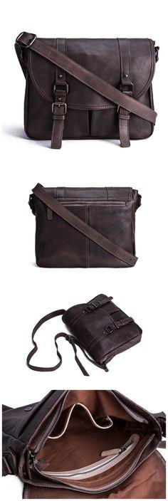 Handmade Vegetable Tanned Leather Men's Messenger Bag/ Crossbody Bag/ Satchel…