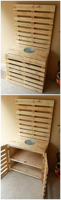 Creative DIY Tips to Recycle Old Shipping Pallets: Hence, discovering with the handy and simple wooden pallet initiatives may be a daunting task for most of the individuals, however. Wooden Pallet Table, Wood Pallet Planters, Wooden Pallet Projects, Wooden Pallets, Pallet Ideas, Pallet Cabinet, Cabinet Plans, Pallet Shed, Toilet Paper Roll Holder