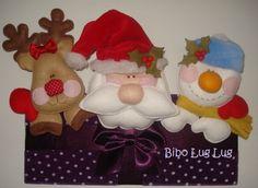 enfeite caixa com turminha, papai noel , rena e boneco de neve