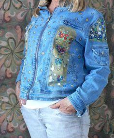 Hand painted denim jacket inspired by Gustav Klimt by AGAINARTshop