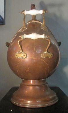 very large antique handmade copper brass porcelain coal bucket scuttle pot scoop