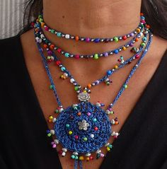 Indigo blue TRIBAL MANDALA crochet NECKLACE boho necklace beaded crochet necklace ethnic jewelry hippie style colorful mandala silver spiral