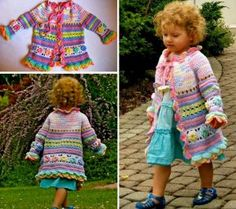 Crochet Girls Coat Is a Colourful Free Pattern