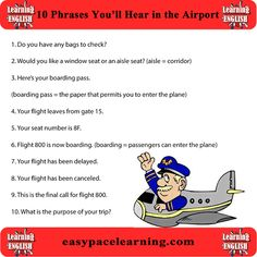 10 expressions you will hear at the airport Please take time and like our Facebook page www.facebook.com/... Thank you in advance