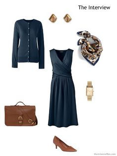 job interview outfit in navy with brown accessories