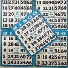 Vintage blue Bingo Cards lot of 10 - blue reusable vintage game boards -  <<<Listing price is for 10 bingo cards>>>  B-I-N-G-O!! We have a bingo!  Wonderful vintage bingo card on heavy thick card stock. Perfect for your next craft project , decorating or even to play