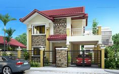 Rachel - Lovely Four Bedroom Two Storey - Pinoy House Plans House Roof Design, Two Story House Design, Modern Small House Design, 2 Storey House Design, Two Story House Plans, Home Building Design, Bungalow House Design, Best House Plans, Facade House