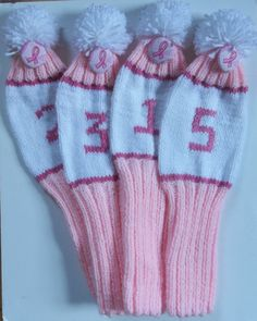 Knitted Pink Golf Club Covers - Golf Club Covers - Golf - Women s Golf  Accessories - Needlecraft - Breast Cancer Awareness - Pink 7e1cb997a2b5