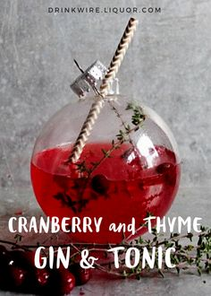A Gin & Tonic is always a great choice of cocktail, but here's a little holiday twist on the classic! And if you want to get really fancy, simply use a clear ornament as the glass! Party Drinks, Cocktail Drinks, Fun Drinks, Yummy Drinks, Alcoholic Drinks, Beverages, Thanksgiving Drinks, Christmas Cocktails, Holiday Cocktails