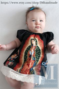 Mexican Our lady of Guadalupe baby dress in Black or Cream sizes Newborn to size 8 girls - Baby Photos Mexican Outfit, Mexican Dresses, Mary Birthday, Mexican Babies, Sweet Dress, Little Girl Dresses, Baby Girl Fashion, Our Lady, Our Girl