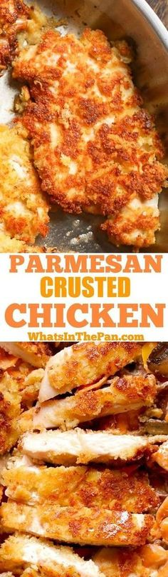 In this easy Parmesan Crusted Chicken recipe, thin chicken breasts are are coated in Parmesan and bread crumbs, and then pan fried until crispy! Kids love it and so do the adults. Easy weeknight dinner, use it in salads or serve it alongside pasta. Parmesan Crusted Chicken, Easy Weeknight Dinners, Chicken Breasts, Bread Crumbs, Salads, Lasagna, Fries, French Toast, Sweet Recipes