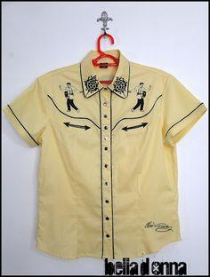 Lojabelladonna: Camisa Western Feminina Elvis
